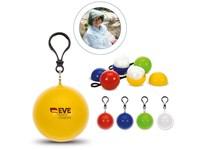 Regenponcho verpakt in bal met sleutelhanger